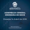 Resum de l'Assemblea General Ordinària de Socis del passat 14 d'abril de 2018