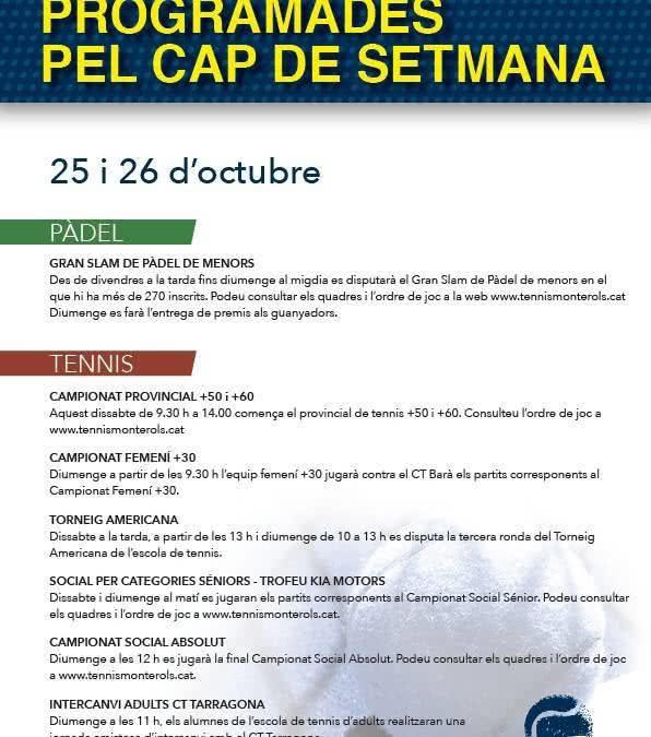 Activitats programades pel cap de setmana: 25 i 26 d'octubre
