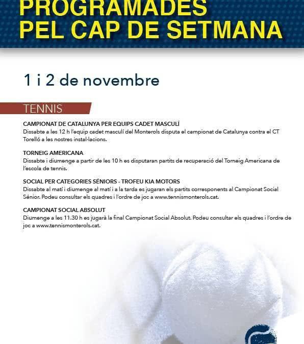 Activitats programades pel cap de setmana: 1 i 2 de novembre