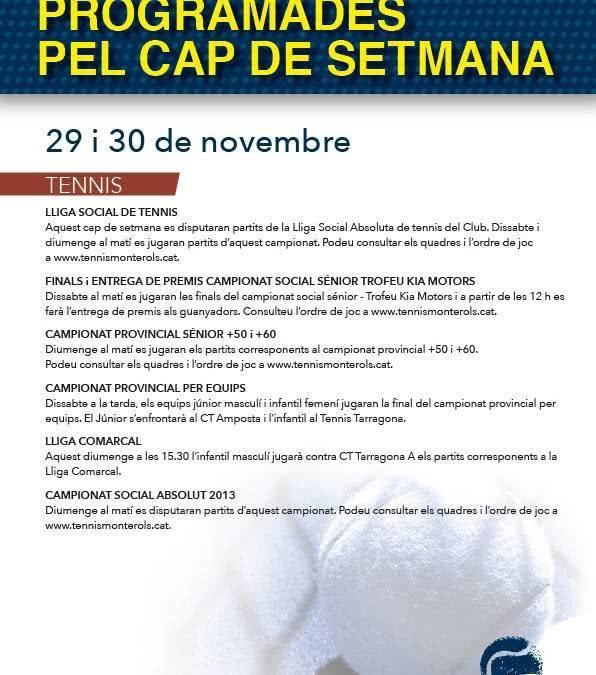 Activitats programades pel cap de setmana: 29 i 30 de novembre