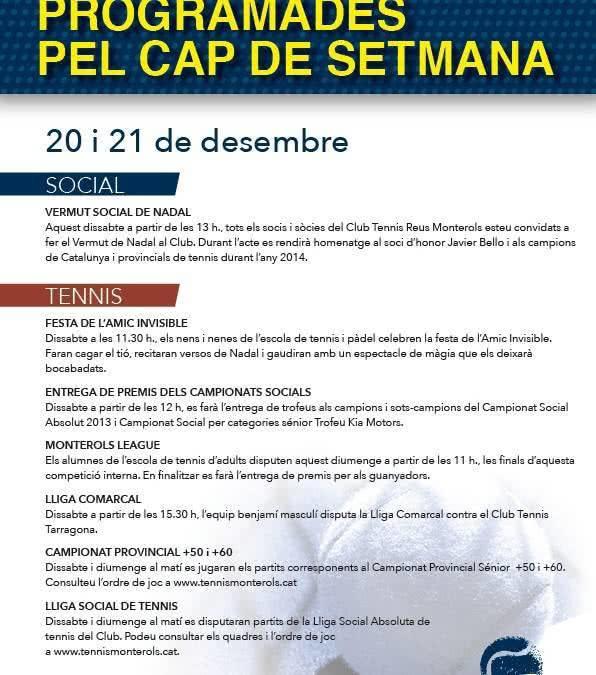 Activitats programades pel cap de setmana: 20 i 21 de desembre