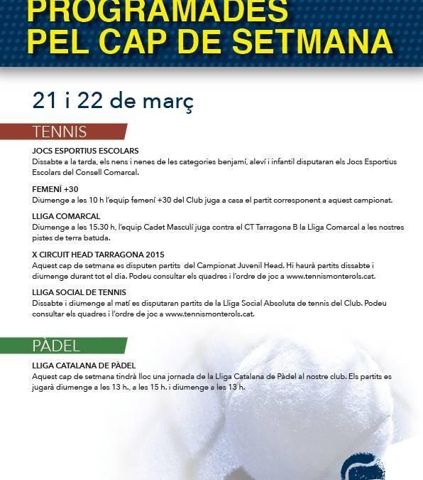 Activitats programades pel cap de setmana: 21 i 22 de març