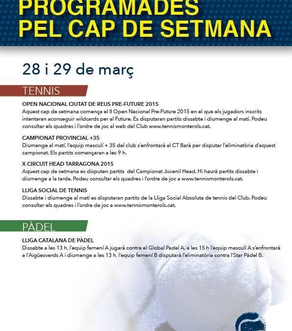 Activitats programades pel cap de setmana: 28 i 29 de març