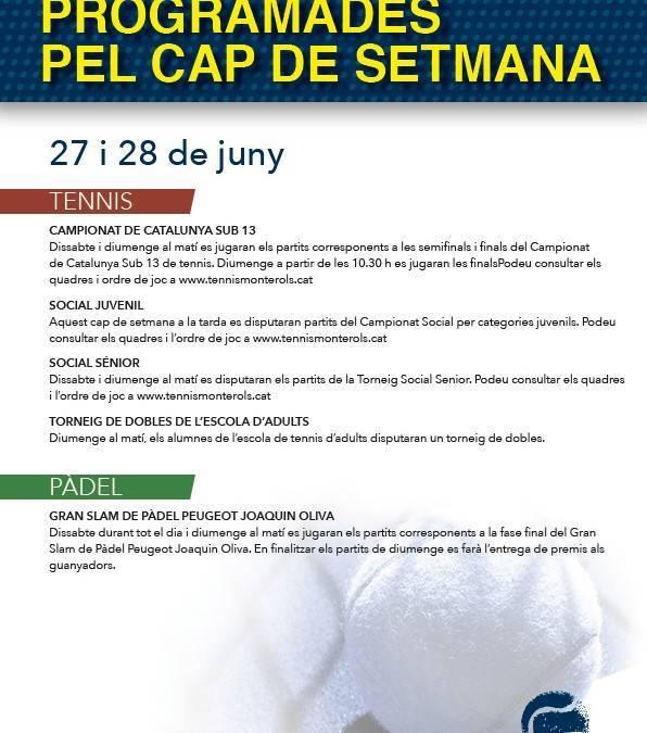 Activitats programades pel cap de setmana: 27 i 28 de juny