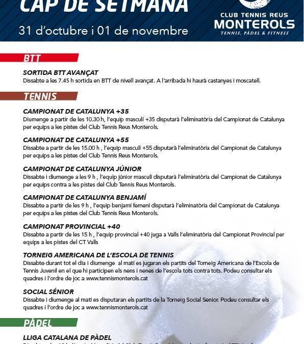 Activitats programades pel cap de setmana: 31 d'octubre i 01 de novembre