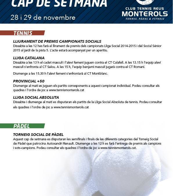 Activitats programades pel cap de setmana: 28 i 29 de novembre