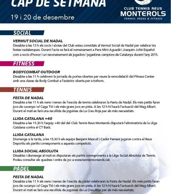 Activitats programades pel cap de setmana: 19 i 20 de desembre