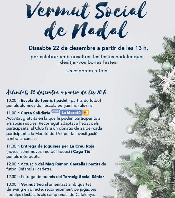 El Club Tennis Reus Monterols celebrarà el tradicional Vermut Social de Nadal