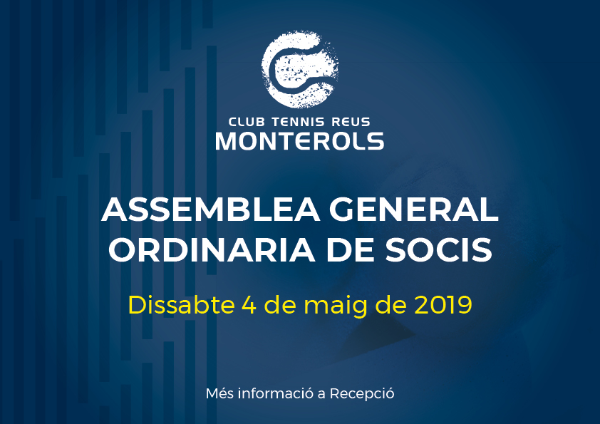 Convocatòria Assemblea General Ordinaria de Socis 2019