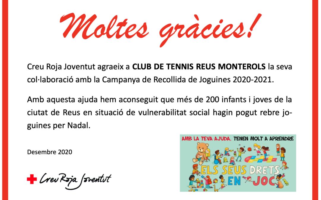 El Club Tennis Reus Monterols col·labora amb La Creu Roja en la recollida de joguines, que ha estat tot un èxit